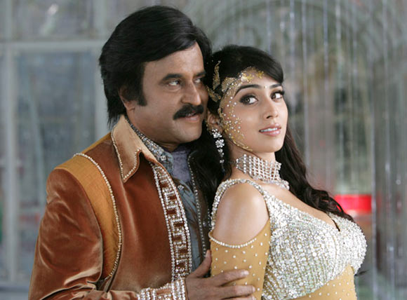Rajinikanth with costar Shriya Saran in Sivaji: The Boss