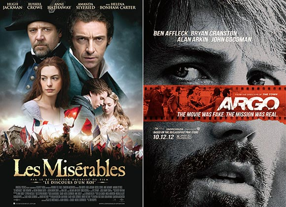 Movie posters of Les Miserables and Argo