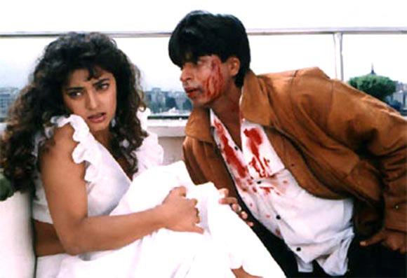 Shah Rukh Khan with Juhi Chawla in Darr