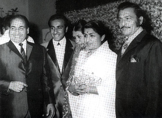 Mohammed Rafi with Lata Mangeshkar and Madan Mohan at Yasmin's wedding reception at Taj Mahal Hotel, Mumbai