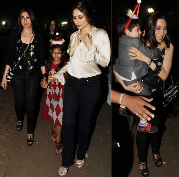 Kareena and Karisma Kapoor with kids Samaira and Kiaan Rak Kapoor