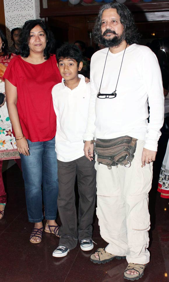 Amol Gupte with wife Deepa Bhatia and son Partho