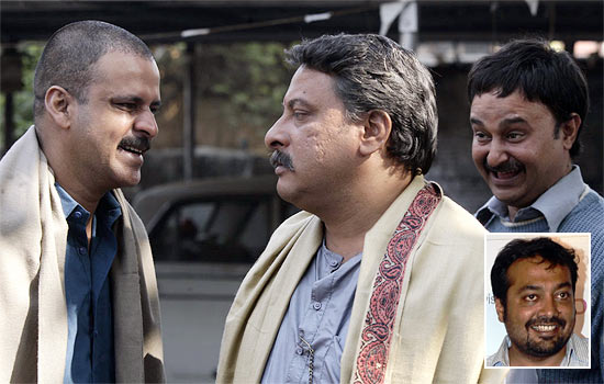 Manoj Bajpayee and Tigmanshu Dhulia in Gangs Of Wasseypur. Inset: Anurag Kashyap