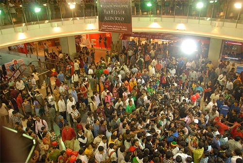 The falshmob at an upmarket mall in Bangalore