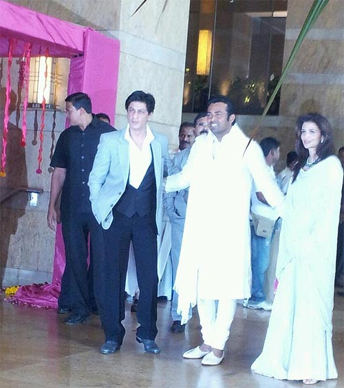 Shah Rukh Khan, Leander Paes and Rhea Pillai