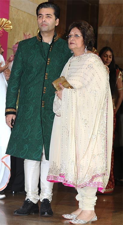 Karan Johar and his mother