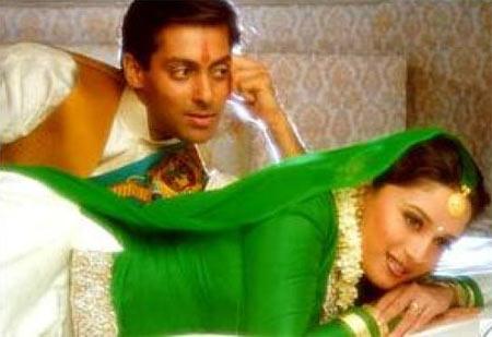 Madhuri Dixit and Salman Khan in Hum Aapke Hain Koun