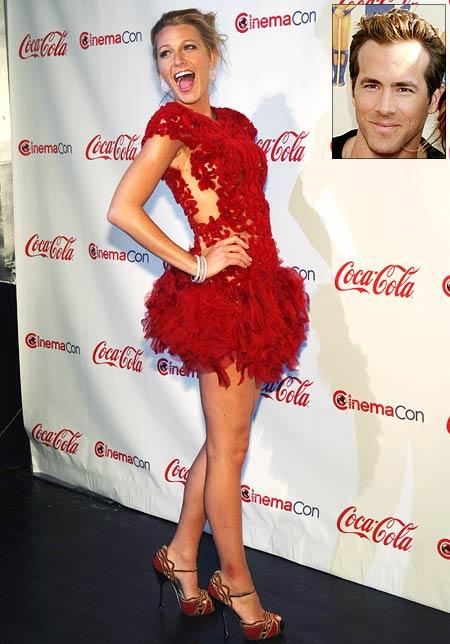 Blake Lively. Inset: Ryan Reynolds