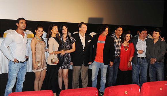 John Abraham, Shazane Padamse, Jacqueline Fernandes, Zarine Khan, Randhir Kapoor, Sajid Khan, Akshay Kumar, Farah Khan, Rishi Kapoor and Sajid Nadiadwala.