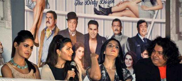 Shazhan Padamse, Jacqueline Fernandes, Zarine Khan and Sajid Khan