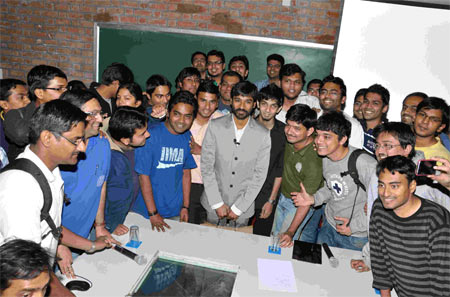 Dhanush and Anirudh with the students of IIM-A