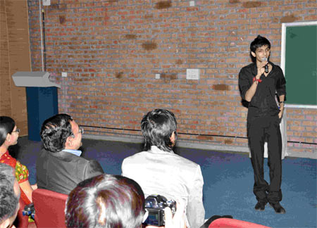 Anirudh interacts with the students at IIM-A