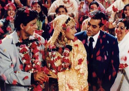 Shah Rukh Khan, Kajol and Salman Khan in Kuch Kuch Hota Hai