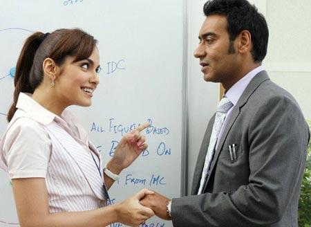 Shazahn Padamsee and Ajay Devgn in Dil Toh Bachcha Hai Ji