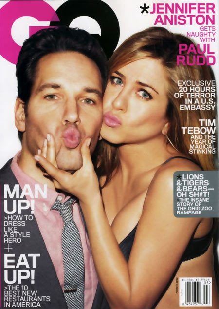 Paul Rudd and Jennifer Aniston on GQ cover
