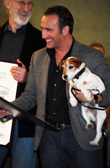 Uggie with Jean Dujardin