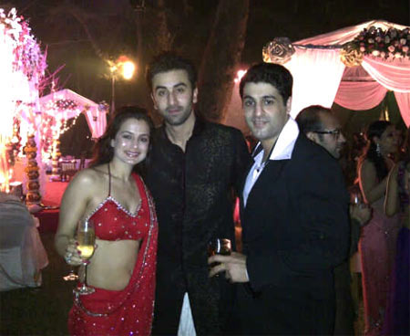 Ameesha Patel, Ranbir Kapoor and Ameesha's boyfriend Kuunal Goomer
