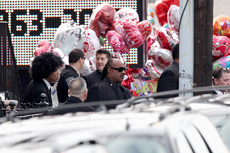 Stevie Wonder leaves the funeral service for Whitney Houston