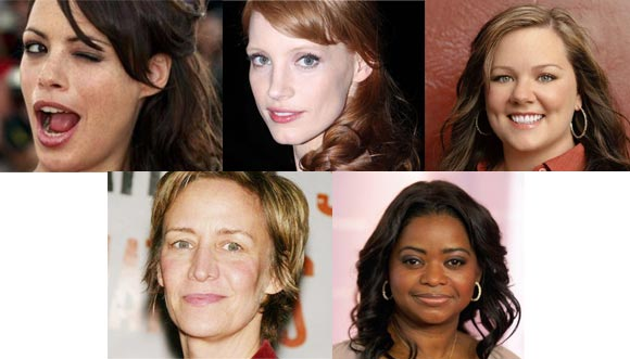 Top: Berenice Bejo, Jessica Chastain, Melissa McCarthy. Bottom: Janet McTeer and Octavia Spencer