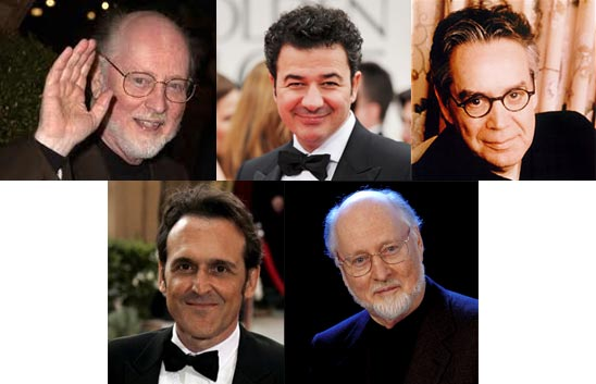 Top: John Williams, Ludovic Bource, Howard Shore. Bottom: Alberto Iglesias