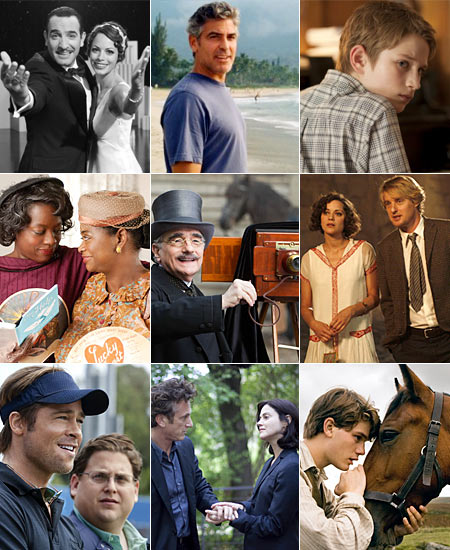 The Artist, The Descendants, Extremely Loud & Incredibly Close, The Help, Hugo, Midnight in Paris, Moneyball, The Tree of Life, War Horse