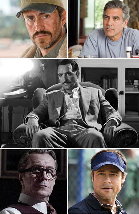 Top: Demian Bichir, George Clooney, Jean Dujardin. Bottom: Gary Oldman and Brad Pitt