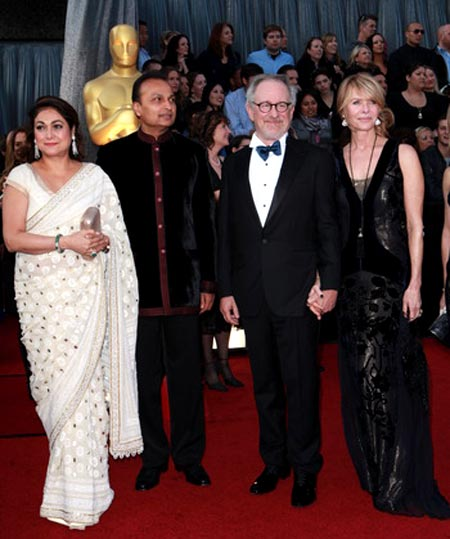 Tina and Anil Ambani with Steven and Kate Capshaw Spielberg