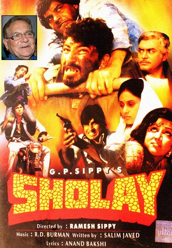 Movie poster of Sholay. Inset: Salim Khan