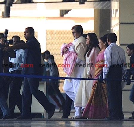 Amitabh Bachchan, Aishwarya Rai Bachchan and Vrinda Rai