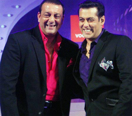 Hosts Salman Khan and Sanjay Dutt on Bigg Boss 5