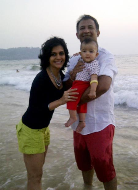 Mandira Bedi and Raj Kaushal with Vir