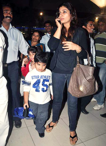 Raveena Tandon with Rasha and Ranbir