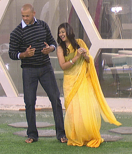 Andrew Symonds and Juhi Parmar