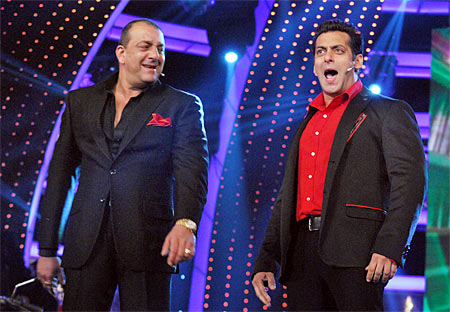 Sanjay Dutt and Salman Khan at the Bigg Boss grand finale
