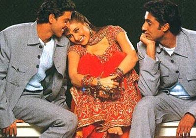 Hrithik Roshan, Kareena Kapoor and Abhishek Bachchan in Main Prem Ki Diwani Hoon