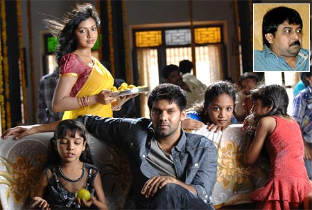 A scene from Vettai. Inset: Director Lingusamy