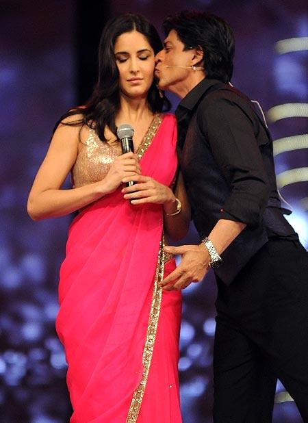 Shah Rukh Khan surprised audiences by kissing his future co-star Katrina Kaif at the 18th Colors Screen Awards