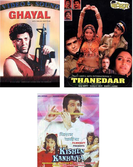 Clockwise: Movie posters of Ghayal, Thaanedar and Kishen Kanhaiya