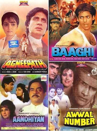 Clockwise: Movie posters of Agneepath, Baaghi, Awwal Number and Aandhiyan