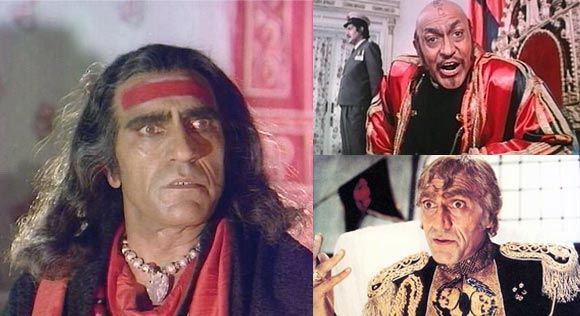 Clockwise from top: Amrish Puri in Tahelka, Mr. India and Nagin
