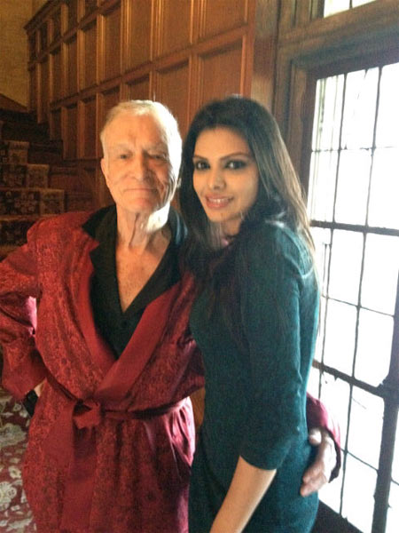 Sherlyn Chopra with Hugh Hefner