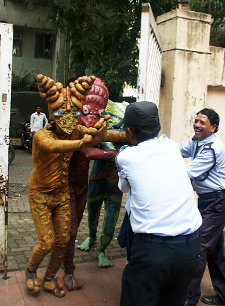 The aliens from Joker trying to enter the Rediff office building in Mumbai