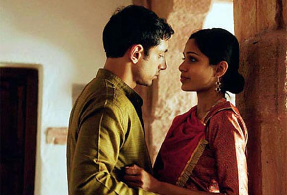 Freida Pinto with costar Riz Ahmed in Trishna