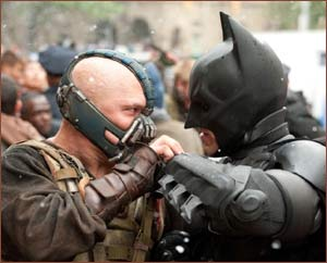 Tom Hardy and Christain Bale in The Dark Knight Rises