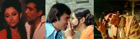 Scenes from Roop Tera Mastana in Aradhana, Jai Jai Shiv Shankar in Aap Ki Kasam, Yeh Jo Mohabbat Hai in Kati Patang
