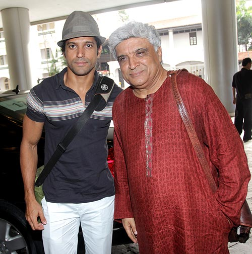 Farhan Akhtar with Javed Akhtar