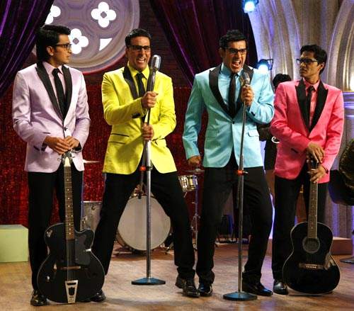 Riteish Deshmukh, Akshay Kumar, John Abraham and Shreyas Talpade in Housefull 2