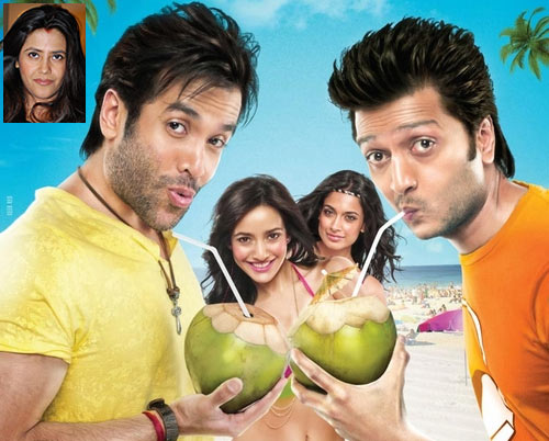 Movie poster of Kya Super Kool Hain Hum. Inset: Ekta Kapoor