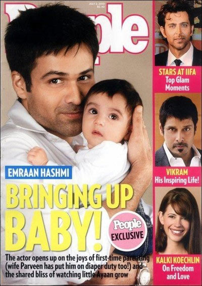 Emraan Hashmi with his son on the People cover