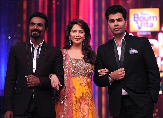 Remo D'Souza, Madhuri Dixit and Karan Johar